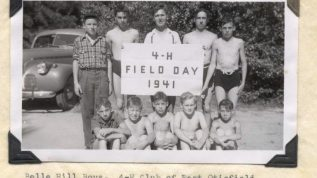 Belle Hill Boys, 4-H Club of East Otisfield. Winner of Banner at 1941 Field Day