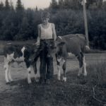 Historic photo of 4-Her with two calves