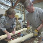 Forest service staff inspect ash logs