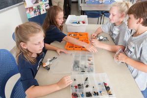 Youth use LEGO Toolkit to build robots