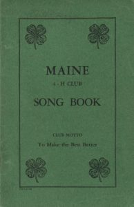 Cover of The Maine 4-H Club Song Book, printed circa 1934