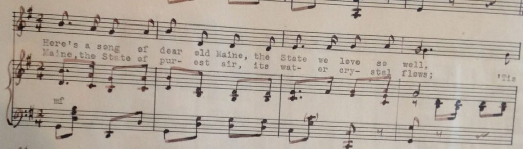 section of music and lyrics to The Maine Song