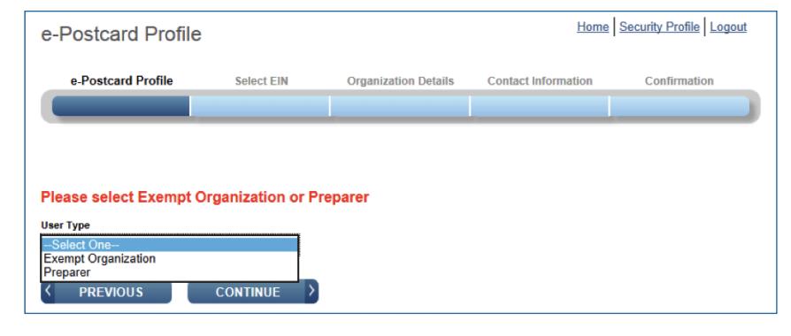 Screenshot of IRS e-Postcard Profile