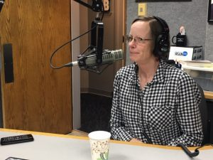 Sally Farrell, UMaine Extension York County 4-H professional, being interviewed on the radio