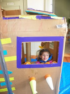 4-Her with her Cardboard Challenge Project.