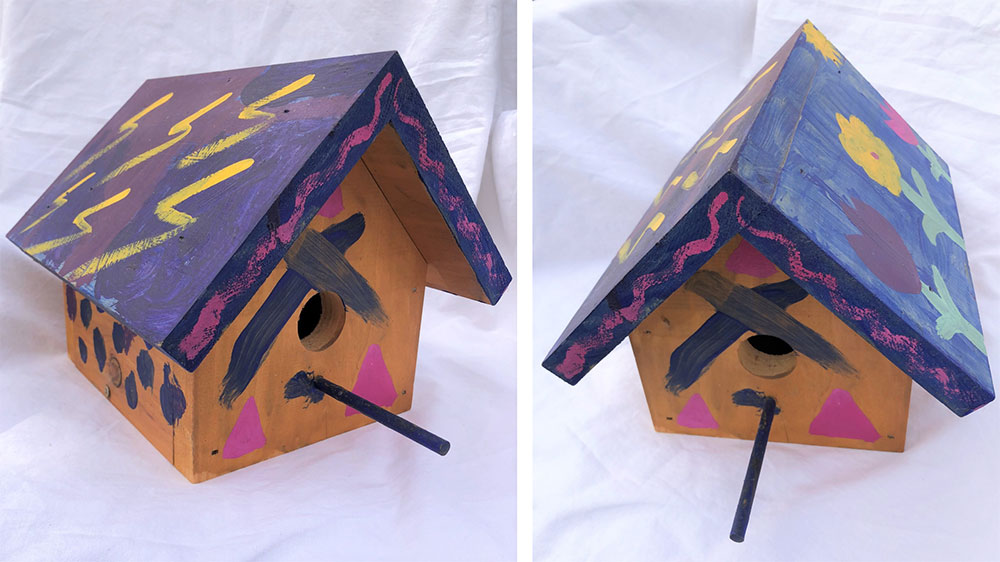 birdhouse shot from two different angles