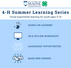 4-H Summer Learning Series Graphic - virtual experiential learning for youth ages 5-18; hands-on learning, on and offline workshop; leadership opportunities, make new friends