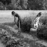 2 4-H'ers working in the garden