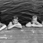 4-H swimmers at dock