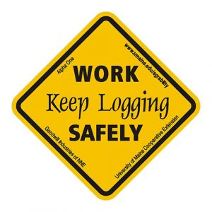 Work safely; keep logging sticker