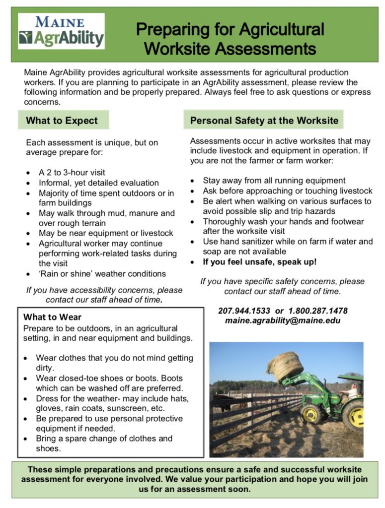 screenshot of Preparing for Agricultural Worksite Assessments