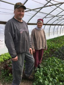 Bill and Carol Hayes in their greenhouse