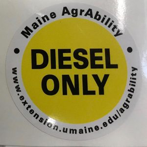 Maine AgrAbility Diesel Only Sticker