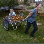 woman pulling child in cart