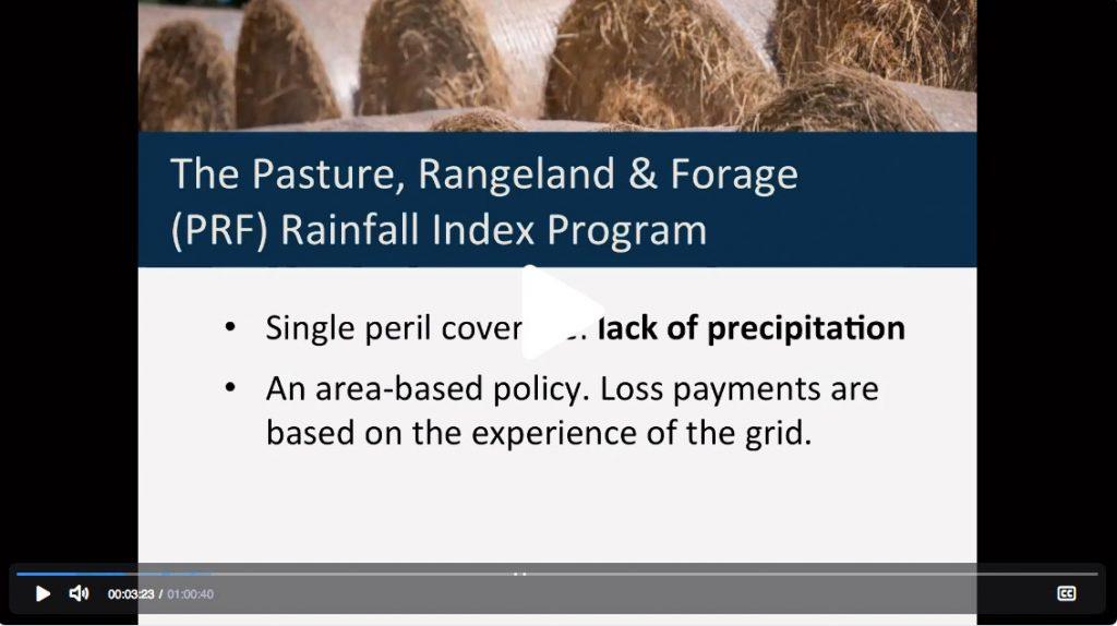 Screen shot from a Pasture, Rangeland & Forage Rainfall Index Crop Insurance webinar