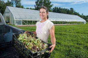 Farmer loads freshly picked lettuce into the back of her pickup truck
