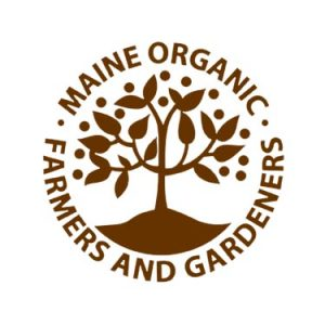 Maine Organic Farmers and Gardeners logo, brown