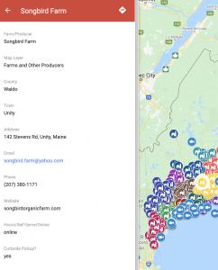 screenshot of farm listing