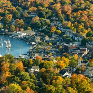 fall arial view of coastal maine