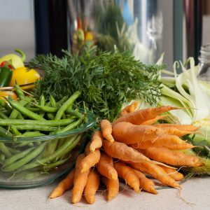 vegetables including carrots and string beans