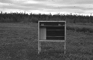 Handmade wooden bee shelter.