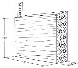 Design for wooden bee nesting block and its set-up on a wooden stake.