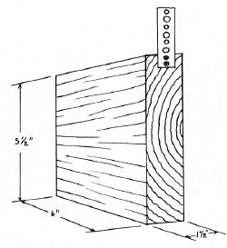 Design for wooden bee nesting block and its set-up on a wooden stake