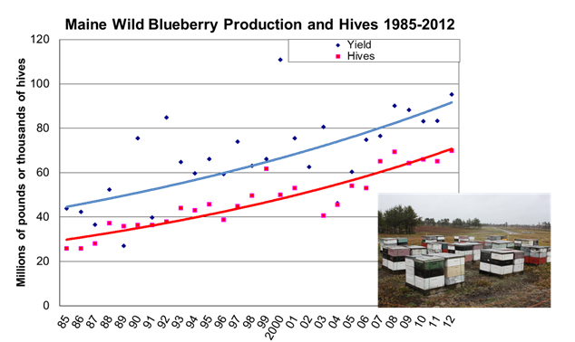 Wild blueberry production and hives 1985-2012
