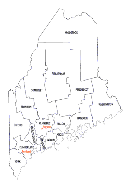 State of Maine counties map