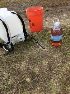 foliar fertilizer in a jug next to a bucket and sprayer in the field
