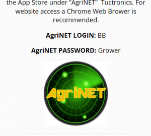 image of the agrinet icon with login (BB) and Password (Grower)