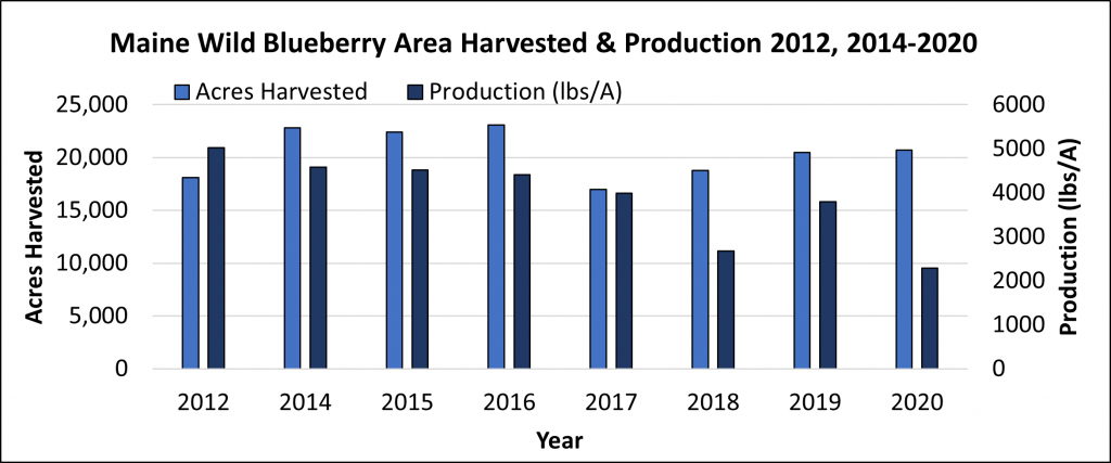 Maine wild blueberry area harvested (acres) and production in 2012 and 2014-2019