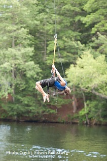 Camper using Aqua Zip line