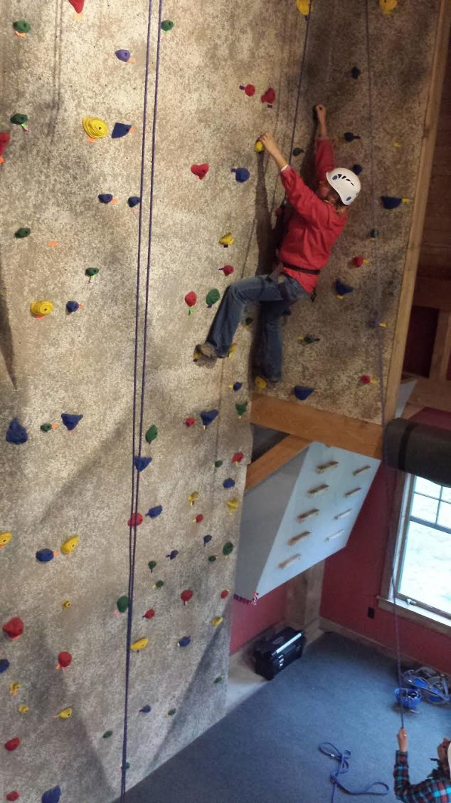 BOW participant on climbing wall