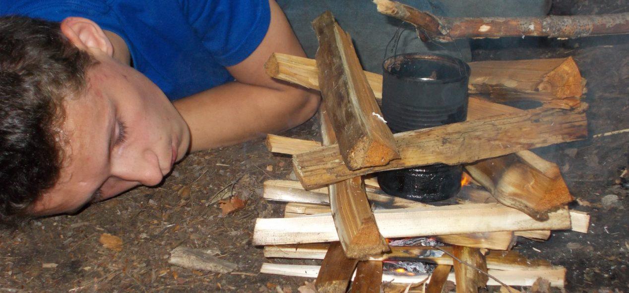 Camper starting a fire