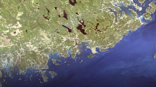 satellite view of the Maine coast