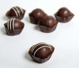 Assorted truffles, one of the 90 varieties of handmade candies sold by Monica's Chocolates of Lubec, Maine.