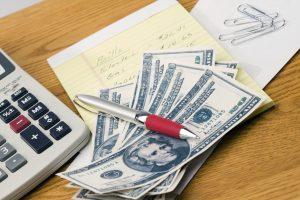 cash, adding machine, list