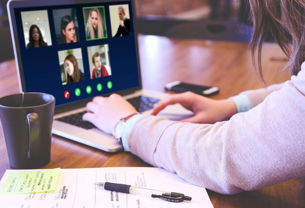group on a video conference