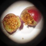 Photo showing a cranberry split open, in two halves, and full of frass left behind by a Cranberry Fruitworm larva