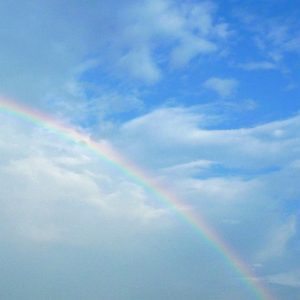 "Photo of a rainbow against a blue sky for marking the ""Local Weather"" category of our ""Grower Services"" page."