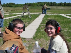 two young 4-H Bulleye Club members at the shooting range