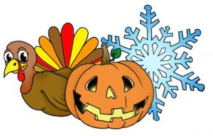 illustration of a turkey, jack o latern and snowflake