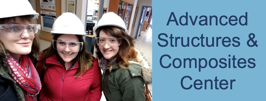 Lynne, Mallory, and Tayla wearing hard hats and safety goggles at the Advanced structures and composites center at UMaine Orono