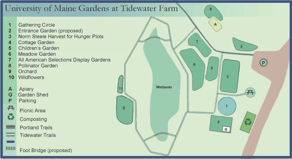 UMaine Gardens at Tidewater Map showing the location of the Gathering Circle, Entrance Garden, Norm Steele Harvest for Hunger Plots, Cottage Garden, Children's Garden, All American Selections Display Gardens, Pollinator Garden, Orchard, Wildflowers, Apiary, Garden Shed, Parking, Picnic Area, Composting, Portland Trails, Tidewater Trails, and Foot Bridge (proposed)