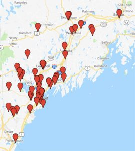 screenshot of map of Maine showing locations where Master Food Preserver events took place in 2017