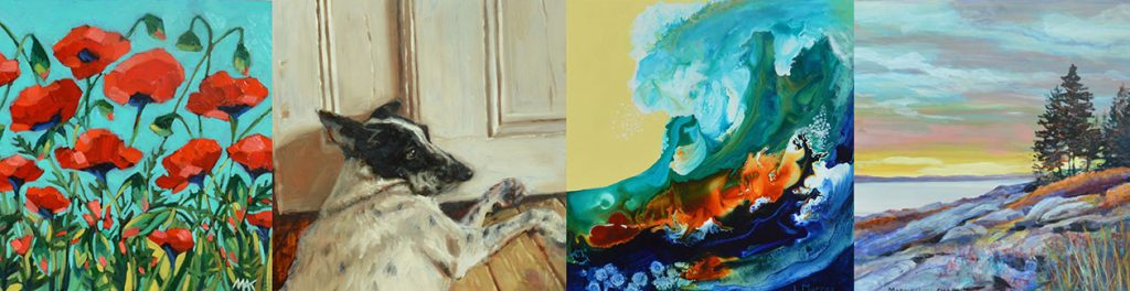 4 paintings that were auctioned off at the Taste of Tidewater fundraiser