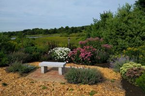 Granite bench in the garden at Tidewater Farm
