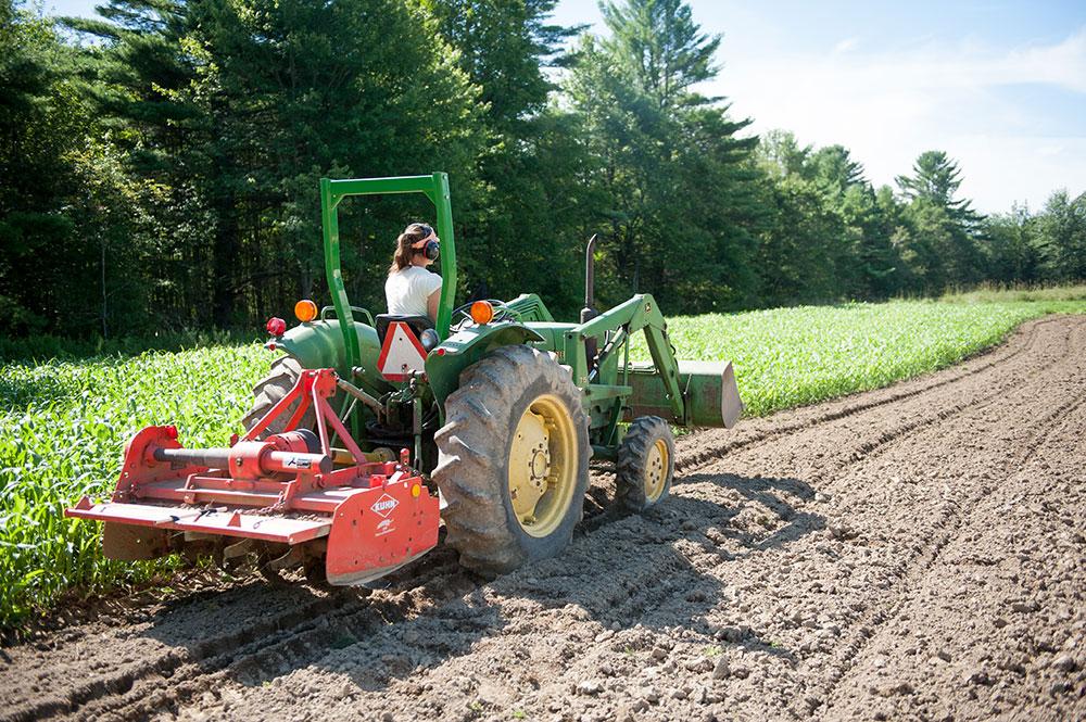 Farmer driving a tractor with a roll bar on Little Ridge Farm