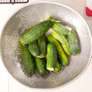 cucumbers in a colendar